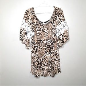 Coco Kelly Leopard Floral Bell Sleeve Tunic Top